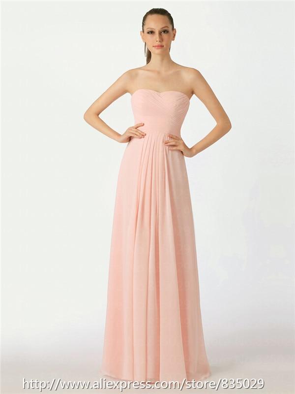 Sweetheart Chiffon Long Floor Length Cheap Bridesmaid Dress with ...