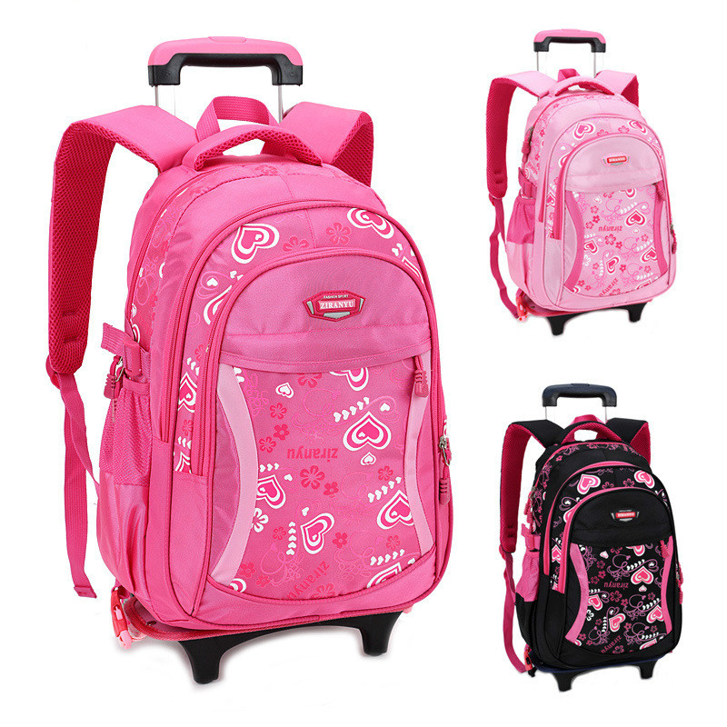 2017 Girls Trolley Children School Bags Classic Travel Bag On Wheels Kids Rolling Orthopedic Schoolbag Backpack Girl Book Bags behavioral problems on school children