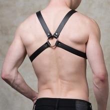 ZIPLIU Male Punk Leather Harness Stud Rivet Goth Handmade Men Body Bondage chest