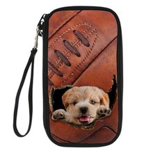 Noisydesigns 3D Dog And Rugby Travel ID Card Wallet Passport Cover Wallet Purse Storage Organizer Bag Holder Cluth Small