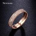 NEWBARK Anel Rose Banhado A Ouro de Noivado Casamento Pavimentada Micro cubic zirconia Anéis de Dedo Para As Mulheres Presente de Natal Jóias