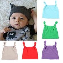 Милый ребенок, новорожденный, младенец, младенец, мальчики, девочки, ухо, бархат, узел, мягкая шапка бини