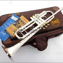 Профессиональная труба Баха пластина Серебряная труба корпус позолоченный ключ резной Bb Труба Drop Регулируемый тромпитный инструмент TR-197GS