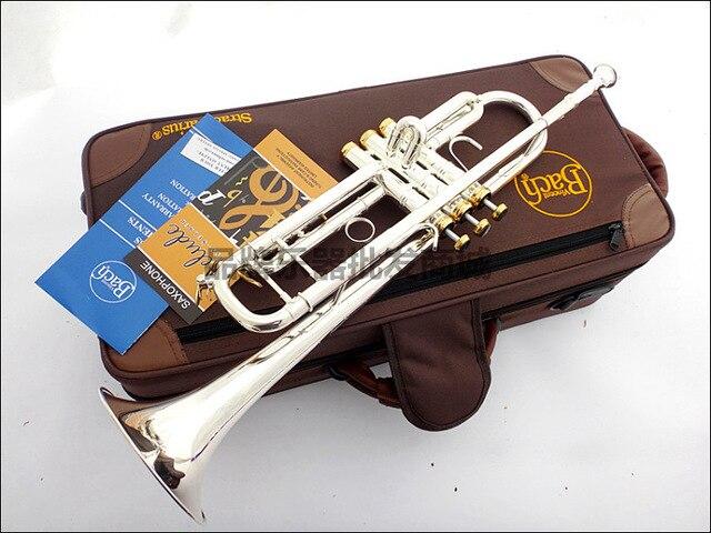 Plaque trompette de Bach professionnelle corps de tuyau en argent clé plaquée or sculptée Bb trompette goutte réglable Trompete Instrument TR-197GS