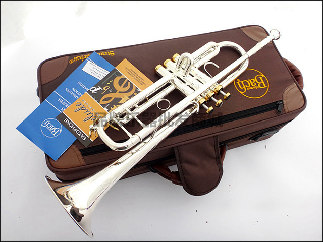 Professional Bach Trumpet Plate Silver Pipe Body Gold Plated Key Carved Bb Trumpet Drop Adjustable Trompete