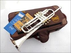 Professionelle Bach Trompete Platte Silber Rohr Körper Vergoldete Schlüssel Geschnitzte Bb Trompete Drop Einstellbar Trompete Instrument TR-197GS