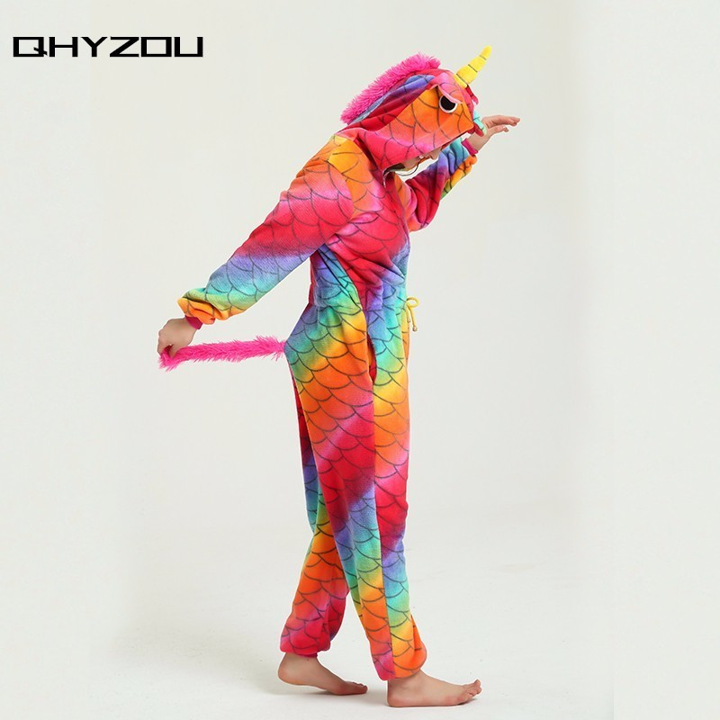 Scale Print Drawstring Waist Unicorn Onesie Women Kigurumi Adults Pijamas Onsie Jumpsuits ...