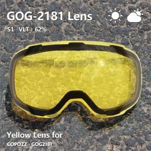 Image 2 - COPOZZ Original GOG 2181 Lens Yellow Graced Magnetic Lens for Ski Goggles Anti fog UV400 Spherical Ski Glasses Night Skiing Lens
