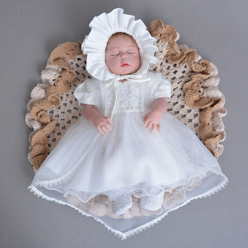 Spring Summer Girls' Lace Princess 1st Birthday Wedding Baptism Dress Long Sleeve Formal Party Wear for Toddler Baby Girl baby girl birthday princess dress spring