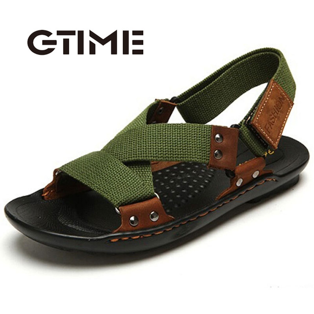 fa4032ce74475f Sandals Men Casual PU Leather 2016 Summer New Design Beach Shoes Easy-match  Soft Bottom Men Slippers Color Black Green  ZH79