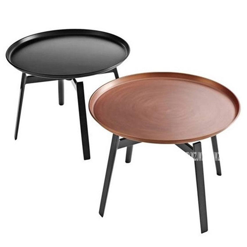 Modern European Style Round Tea Tray Table Iron Stoving Varnish Living Room Bedroom Corner Sofa Side Simple Round Coffee Table|Café Tables| |  - title=