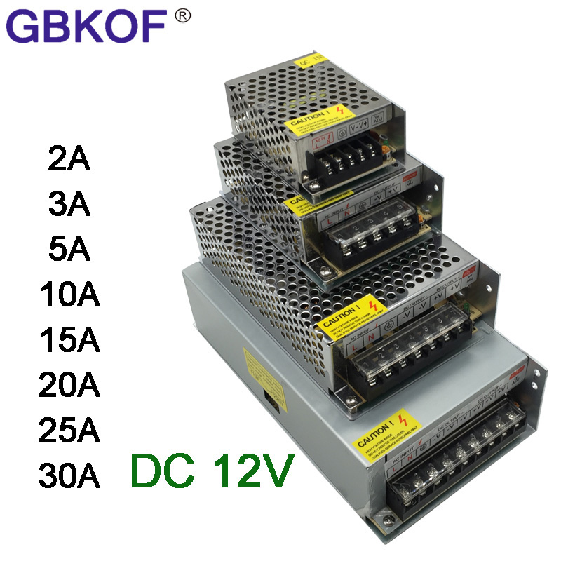 Power Supply <font><b>DC</b></font> <font><b>12V</b></font> 1A 2A 3A 5A 10A 12A 15A 20A 30A 40A Lighting <font><b>Transformer</b></font> For LED Strip Light Switching Power Adapter Driver image