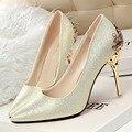 New Sexy Mental Mulher Bombas Dos Saltos Altos Vermelhos Sapatos De Salto Alto 10 CM mulheres Sapatos de Salto Alto Sapatos de Casamento Bombas Preta Nu Sapatos de Salto Alto