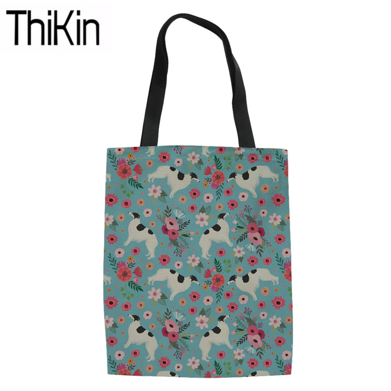 THIKIN Women's Linen Bag For Shopping Borzoi Printing Canvas Tote Bag Ladies Foldable Shopper Bag Females Reusable Eco Storage