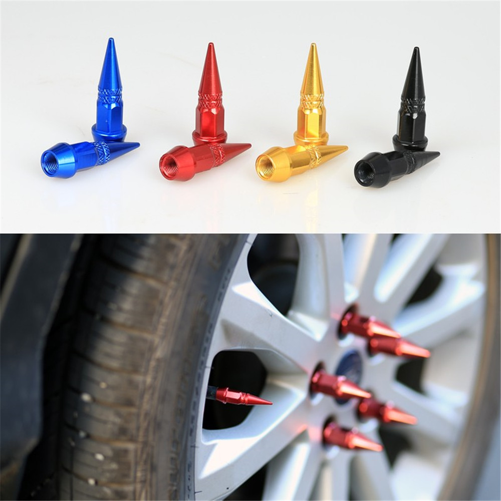 4PCS Black Car Auto Bike Spike Shape Tire Dustproof Wheel Stem Aluminum Valve Cap(China)