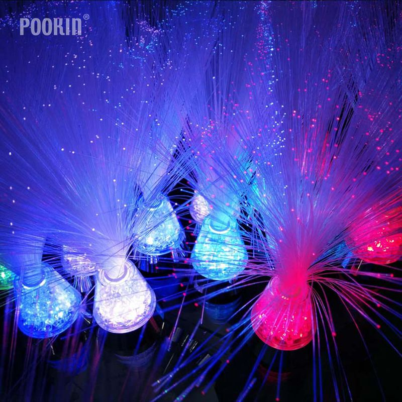 LED Multicolour Fibre Optic Lamp Light With Ice Base  Relax Changing Bedside Nightlights For Children Birthday Gift Home Decor