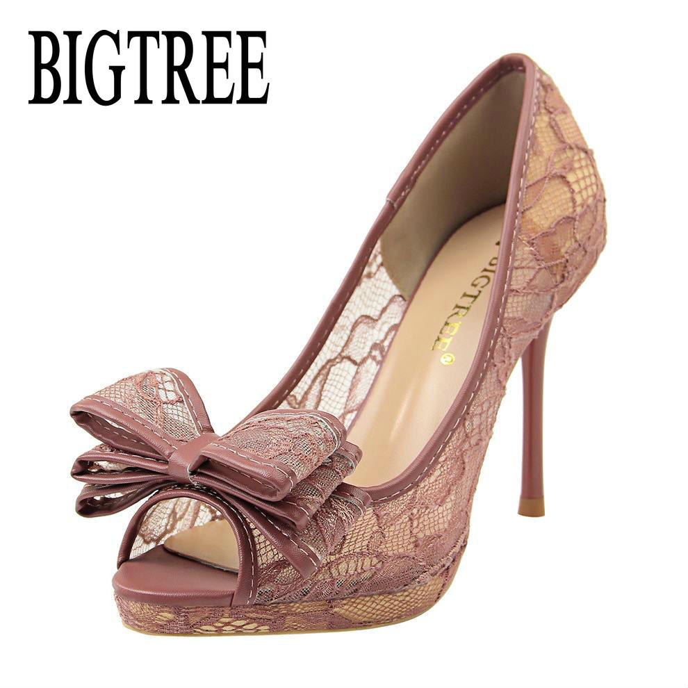 53b387e8fc0 BIGTREE Sexy Black Lace Mesh High Heels Pumps Peep Toe Women Lace Flower  Bow Tie Stiletto Heel Pumps Fashion Women Dress Shoes -in Women s Pumps  from Shoes ...