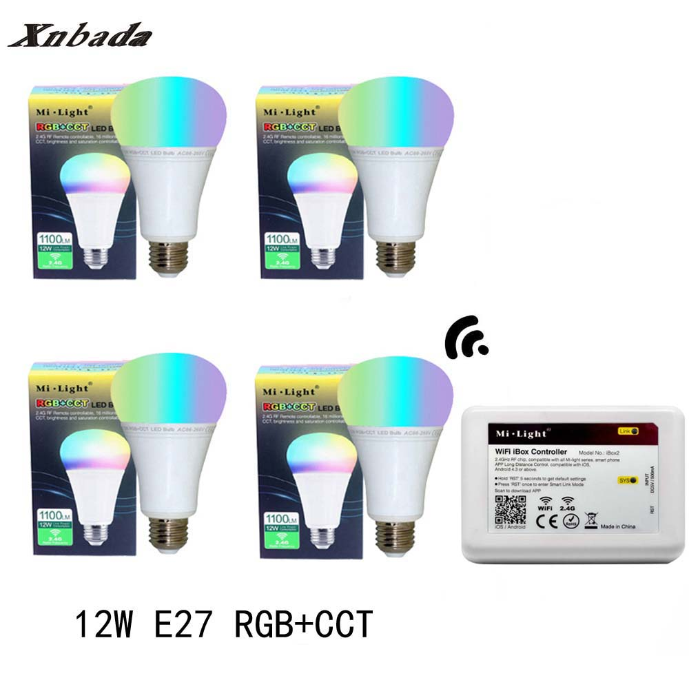 Mi Light 12W Led Lamp E27 RGB+CCT Led Bulb +iBX2 RF Remote WIFI Led Spotlight light Dimming Led light AC85-265V Free Shipping