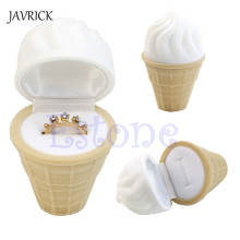 Trendy Flocking jewelry box Velvet Ice Cream Wedding Earring Ring Pendant Jewelry Display Box Gift Jewelry Packaging Case