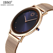 IBSO Stainless Steel Watches Mens Top Brand Luxury Ultra-thin Dial Watch Mens Quartz Wristwatches 2019 Relogio Masculino