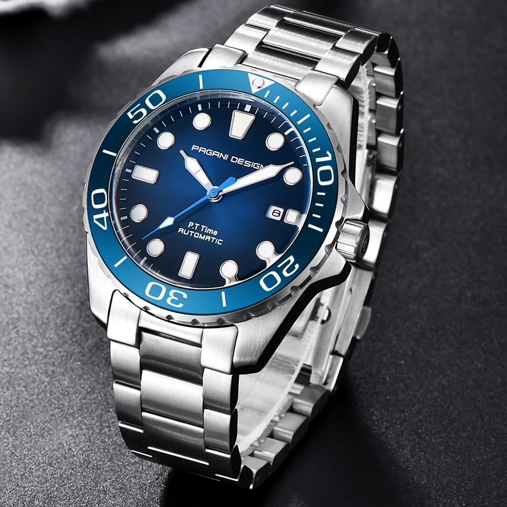 PAGANI projekt marka mężczyźni zegarki luksusowe automatyczne niebieski zegarka mężczyzna zegarek ze stali nierdzewnej wodoodporny biznes Sport zegarek mechaniczny w Zegarki mechaniczne od Zegarki na  Grupa 3