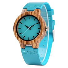 Creative Women Watches Blue Genuine Leather Modern Minimalist Retro Zebra Wooden Bamboo Ladies Watch Casual Clock Top Gifts
