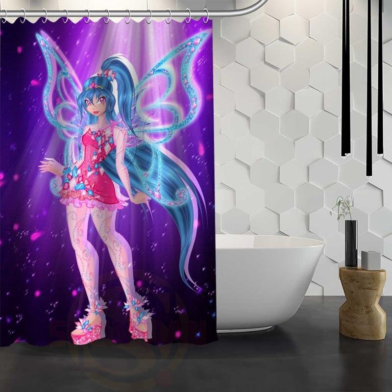Hot Sale Custom Winx club Shower Curtain Waterproof Fabric Shower Curtain for Bathroom F#Y1-17