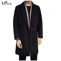 2018 New Autumn And Winter Men Overcoat Long Fund Self cultivation Windbreaker Woolen Fashion Jackets Loose Wool Coat Male Sale