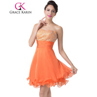 Free Shipping Sequins And Beadings Embellished Orange Homecoming Dress Short CL6196