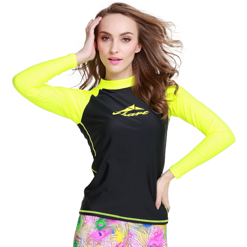 6fa9d3ca79 1PC Neon Yellow Active Women Wetsuits T Shirts Diving Suits Tops Rash  Guards Surfing Swimwears Swimming Clothes Long Sleeves EO-in Wetsuit from  Sports ...