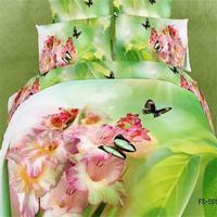 ピンク花柄グリーンリーフパターン3d蝶寝具セットクイーンサイズ100%綿のベッドシーツ枕カバー布団カバーベッドではバッ