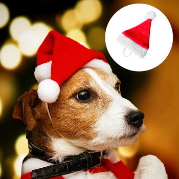 New Christmas Decorations for 2020 Years Pet Christmas Hat Dog Hat Plush Hat Xmas Costume Ornaments with Elastic Band Navidad #Y image