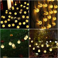 6M 40LED Crystal Ball Solar String Lights Christmas Garden Lights Outdoor Home Lawn Patio Party Holiday