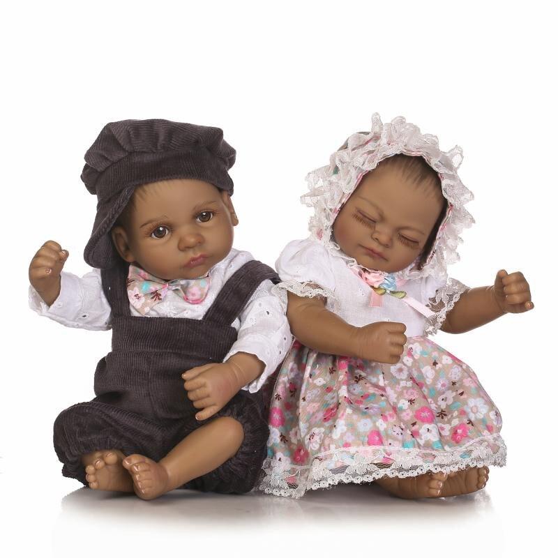 26cm Mini Reborn Baby Boy Doll Soft Black Silicone Reborn