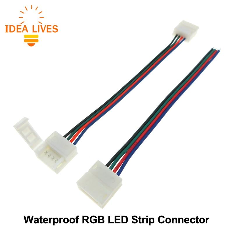Free Welding Connector for Waterproof RGB LED Strip 4pin 10mm 5pcs/lot. new 5pcs 2pin 3pin 4pin led connector l t x shape fpc adapter free welding for 8mm 10mm 3528 2812 5050 rgb light strip