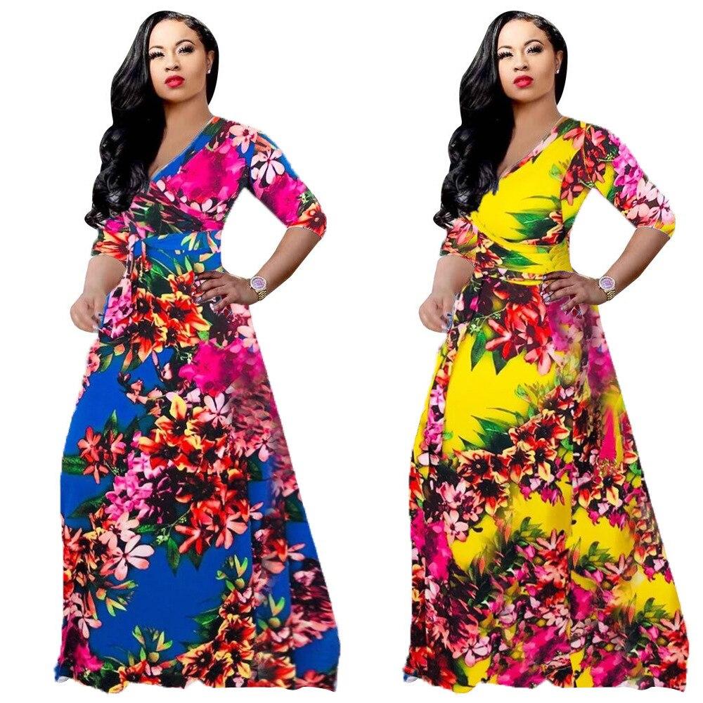 2019 New Arrival Autumn Elegent Fashion Style African Women Printing Plus Size Long Dress S-XXL