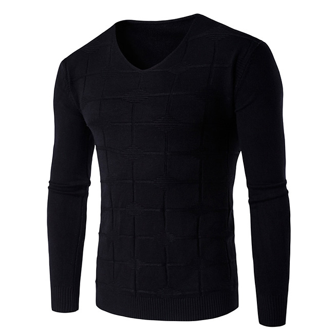 New Soft Warm Sweater Men Brand-Clothing Slim Fit V-Neck Pullover Men Sweaters Fashion square Knitted Pull Homme
