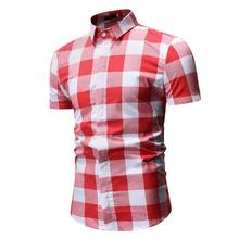 Check Blouse Men Short sleeve Slim Fashion Plaid Mens Shirt Casual Wedding Dress Light gray Red Summer
