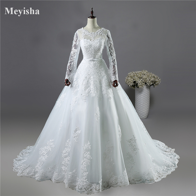 ZJ9065 2017 White Ivory Lace Bride Wedding Dresses with long sleeve Bridal Gown with Big Train plus size 2-26W