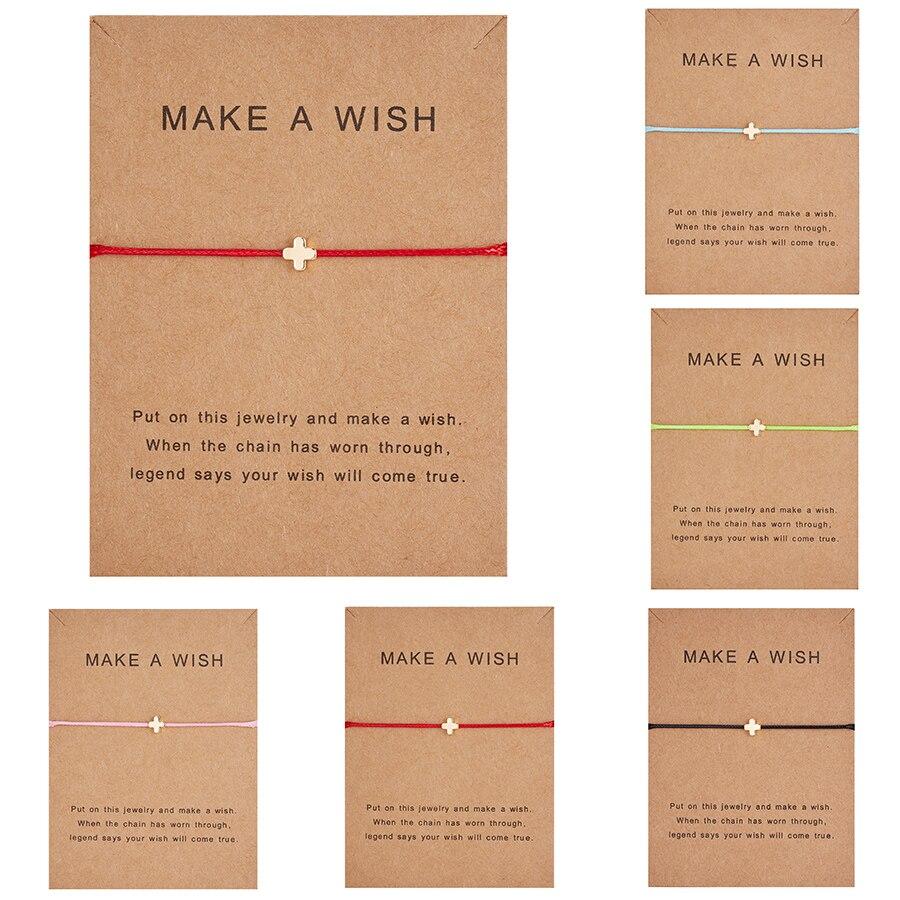 Простой крест красная струна браслет Регулируемая плетение счастливая Веревка Браслеты для женщин мужчин детей подарок ювелирные изделия ручной работы