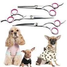 """"""" 7"""" ножницы из нержавеющей стали с изогнутыми лезвиями для домашних животных ножницы для стрижки собак и кошек парикмахерские изогнутые/Изогнутые Ножницы"""