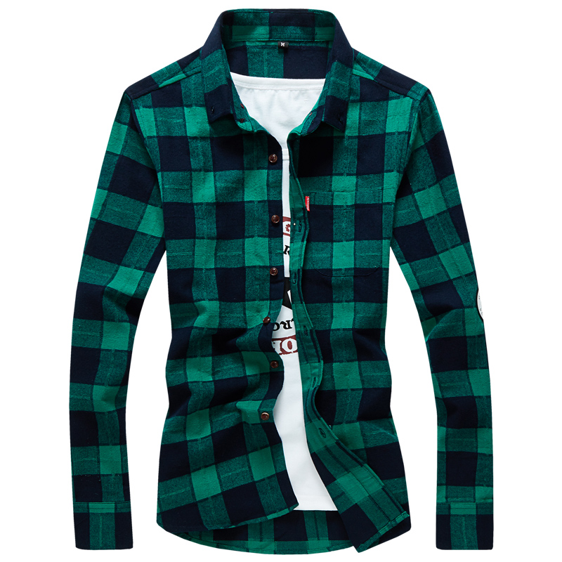 T-bird 2017 Men New Brand Plaid Shirt Camisas MenS Fashion Plaid Long-Sleeved Male Comfortable Casual High Quality Shirt 4XL