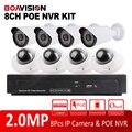 8Ch 1080 P NVR Sistema de CCTV Kit Com 8 Pcs Bala Night Vision-20 m Câmera de Rede Ao Ar Livre + vandal-Proof Dome Sistema de Câmera de 2MP IP