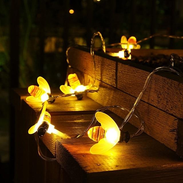 10/20 Leds Bee String Lights With Clear Bulb Backyard Patio Lights Vintage  Bulbs Christmas
