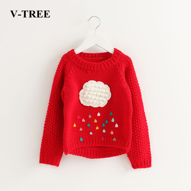 32ce4a6a9 V-TREE Girls Sweater Cloud Sweaters For Girls Knitted Kids Sweater Design  Baby Poncho Girls Pullover