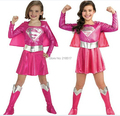 Free shipping Children hot pink superman girl dress,halloween cosplay party super hero costume with cape,boots,belt D-1147