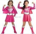 Niños libres del envío hot pink superman vestido de la muchacha, partido de cosplay de halloween traje de superhéroe con cabo, botas, cinturón D-1147