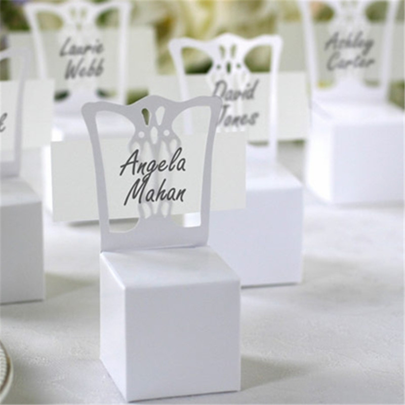 Big Heard Love 100pcs Chair Place Card Holder And Favor Box Best For