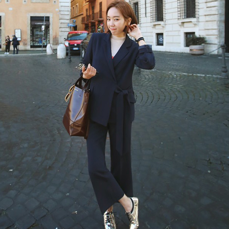 Side Bandage Notched Collar and Wide Leg Pant Suits 2 Pieces Office Ladies Set Women Jacket and Trouser Workwear with Sashes