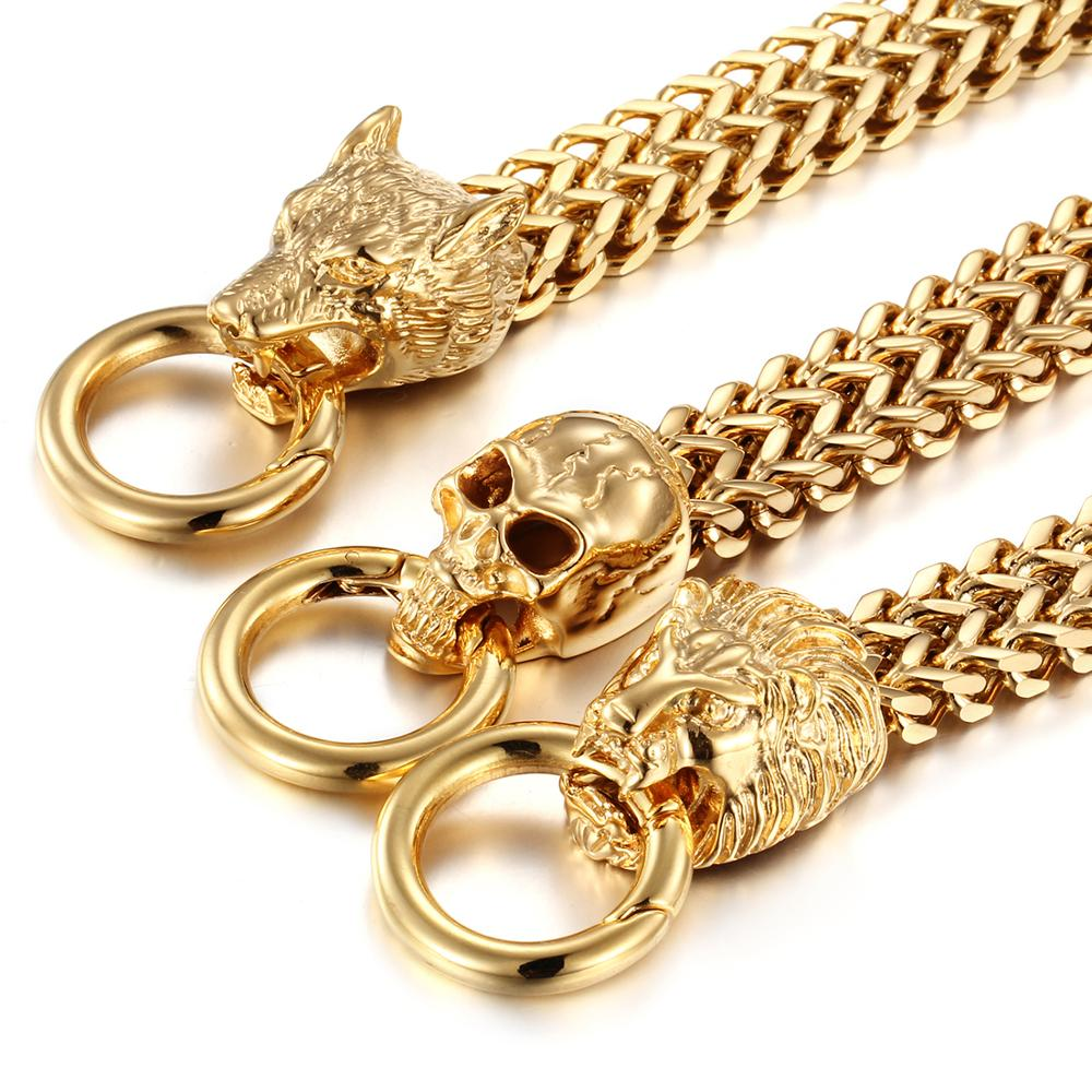 Antique Double Lion/Skull/Wolf Head Herringbone Chain Bracelet for Men Stainless Steel Gold Tone Hip Hop Punk Jewelry 22cm